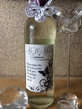9 Mini Personalised Butterfly Wedding Table Wine Bottle Label / Favour / Gift