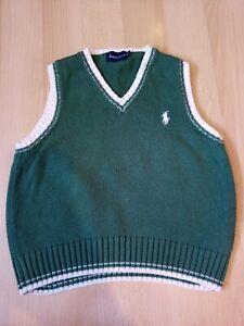 Ralph Lauren Polo Boys green Knit Tank Top Sleeveless Jumper size 90