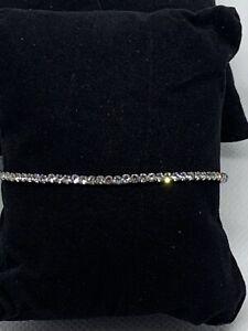 Rhinestone Gunmetal Stackable Elastic Tennis Bracelet NEW