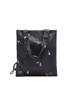 JOULES Pacabag / Einkaufstasche faltbar schwarz mit Hunden  35 cm NEU