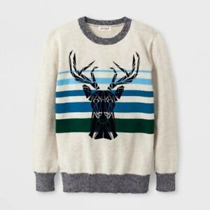 Cat & Jack Boy's Size XL(16) Off White Crew Neck Flocked Stag Deer Head Sweater