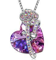 "2.25 Ct Round Purple Amethyst 925 Silver Pendant Necklace18"" Chain"