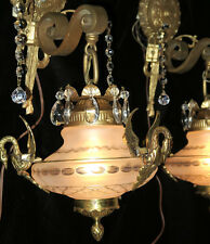 2 SWAN Sconces Vintage Satin Glass Bronze Brass wall lamp lantern crystal SPAIN