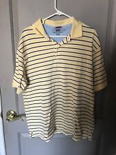 Wrangler Men's Yellow Striped Short Sleeve Polo Shirt Size Large