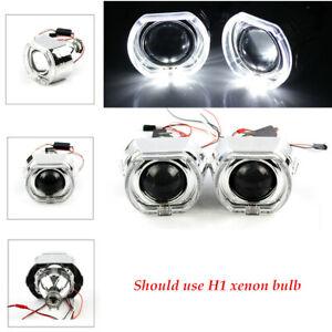 "2.5"" LED Angel Eye HID Bi-Xenon Projector Red Devil Demon Eye Clear Cut-Off Line"