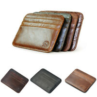 Black Real Leather Men's Small Id Credit Card Wallet Holder Slim Pocket Case CHJ