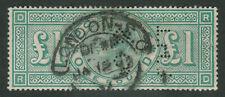 GB. QV. 1891. SG 212, £1 green. Perfin. Fine used.