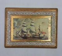 Vintage Small Wood Picture British Navy Image w/ Etched Frame RDE Imports