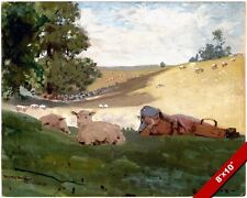 SHEPHERDESS GIRL RESTING IN WARM SUMMER AFTERNOON PAINTING ART REAL CANVAS PRINT