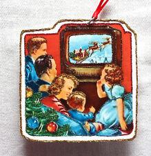 Glittered Wooden Christmas Ornament~Santa On TV~ Vintage Card Image~ Family
