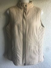 Women's Tommy Bahama Quilted Silk Vest With Stitched Design Size S Tan