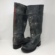 Sendra Women's Size 6 Tall Leather Boots Embellished Distressed Cross Metal Stud