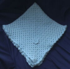 "BAXTER'S BABY BLANKET. Blue Handmade Crochet. Cot, Pram, Moses Basket. 25""x25""."