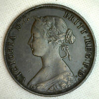 1864 Bronze Half Pence UK 1/2 Penny Britain Coin XF Extra Fine