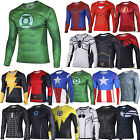 Mens Boys Comics Superhero Costume T-Shirt Long Sleeve Sports Cycling Shirts Top