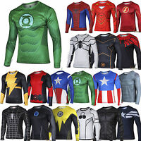 Men Super hero Costume Compression T Shirt Long Sleeve Casual Gym Sports Tops