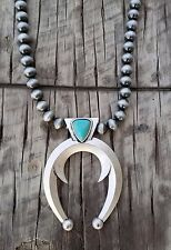 COWGIRL Bling SQUASH BLOSSOM Pewter surge plate beads Southwestern NECKLACE