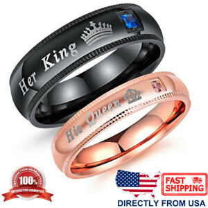 Couple's Matching Ring, His Queen or Her King Wedding Band Comfort Fit Ring
