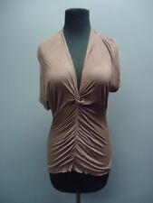 ROZAE NICHOLS Dark Purple V Neck Short Sleeves Casual Solid Top Sz M FF1815