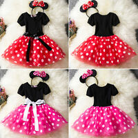 Kids Girls Baby Toddler Minnie Mouse Party Costume Tutu Dress Skirt + Hair Hoop