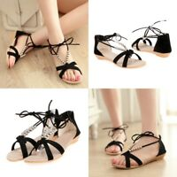 New Summer Women Beaded Lace Up Flats Sandals Ankle Strap Casual Open Toe Shoes
