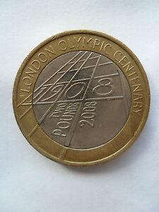 2008 £2 COIN UK TWO POUNDS LONDON OLYMPIC CENTENARY ANNIVERSARY 1908 BIMETALLIC