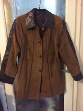 """Beautifully Soft Brown Spanish Suede Jacket Size S 46"""" Chest Excellent Quality"""