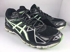 ASICS Gel Surveyor Men US 9.5 Black White + Green Athletic Running Shoes T514N
