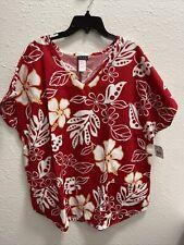 Me too hawaiian print scrubs top. size 1X- Free Shipping!