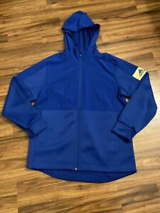 NWT Adidas Game Mode Full Zip Hoodie Jacket Blue Mens Large L Athletic Wear $75