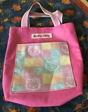 """Sanrio Hello Kitty pink bow medium tote bag carry all w front pocket  9.5 by 10"""""""