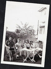 Vintage Antique Photograph Four Women Sitting in Chairs in Backyard