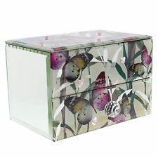 Butterfly 1 Drawer Jewellery Box Glass Mirror Girls Ladies Jewelry Storage Case