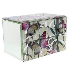 BUTTERFLY 1 CASSETTO PORTAGIOIE SPECCHIO di vetro per ragazze donne Jewelry Storage Case
