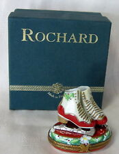 ROCHARD LIMOGES ICE SKATES HOLLY BOX HAND PAINTED FRANCE BNIB PORCELAIN HINGED
