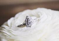 10K White Gold Ladies Round Diamond Pear Shaped Engagement Fashion Ring 1/4 Ct
