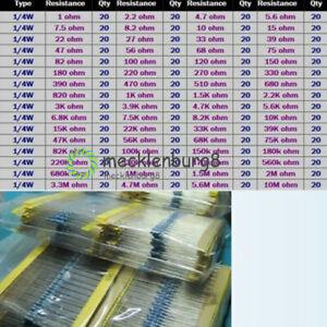 1280stk Widerstände Resistor Metallfilm 1/4W 64 Werte Widerstand Sortiment Set
