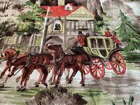 Vintage Mid Century Cohama Hand Print Fabric Derbyshire Horse Derby Bark Cloth