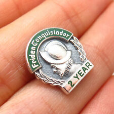 "925 Sterling Silver Vintage Enamel Friden Conquistador ""2 Years"" Lapel Pin"