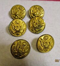 6 Vintage Gold Color Round  Military Style Buttons Great Seal of USA Eagle