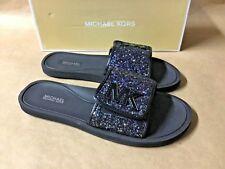 NEW Michael Kors MK Logo Slide Sandals Glitter Fabric Iris Black