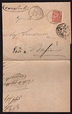 STORIA POSTALE Regno 1885 Stampe da Agnadello a Basiano (FILq)