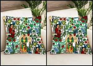 White Frida Khalo Cushion Cover 20x20 Indian Home Sofa Decorative Cover 2 Pcs US