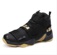 US9 Mens Basketball Shoes Shock Absorbing High Top Outdoor Athletic Black Yellow