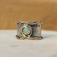Ethiopian Opal Ring 925 Sterling Silver Band Ring Statement Handmade Ring A308