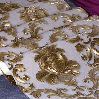 33ft PVC Luxury 3D Gold Metallic Textured Damask Wallpaper Roll Home Decor
