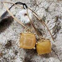 Joan Rivers Earrings Mustard Pumpkin Glittering Goldtone Drop Dangle Fall Season
