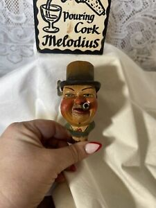 Vintage Musical Carved Head Figural Wine Cork Pourer Stopper Music Box Anri