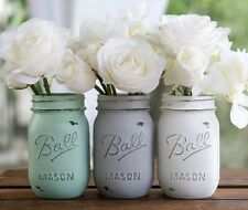 "BALL 6"" Mason Jar Glass handpainted tan white distressed Boho look farmhouse"