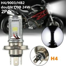 2x H4/9003/HB2 Double COB 24W Power LED Super White Motor Car Headlight, DC12V